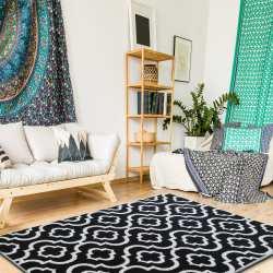 Dywan do salonu marokańska koniczyna czarny