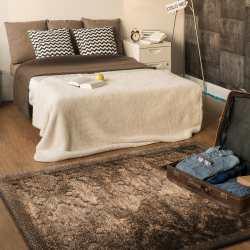 Dywan pluszowy brązowy marokańska koniczyna Sawanna 03