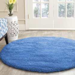 Dywan okrągły shaggy pluszowy jednolity niebieski