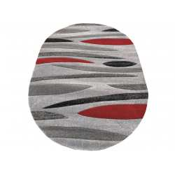 Dywan owalny Fashion 01 szaro-czerwony