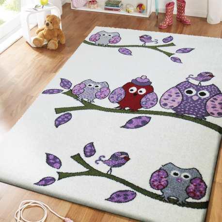 dywan dla dzieci kremowy - sówki