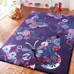 Dywan dla dzieci Bambi 03 fioletowy - motylki