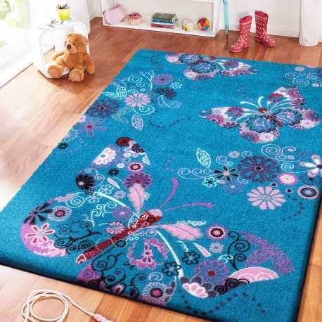Dywan dla dzieci Bambi 03 turkusowy - motylki