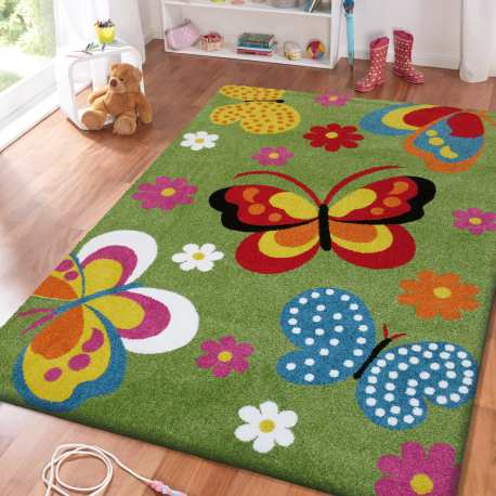 Dywan dla dzieci Bambi 14 Motyle - zielony