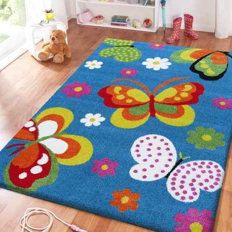 Dywan dla dzieci Bambi 14 Motyle - niebieski