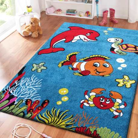 Dywan dla dzieci Bambi 04 Rybki - niebieski