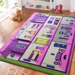 Dywan dla dzieci Smyk 15 - fioletowy domek