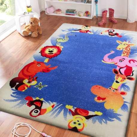 Dywan dla dzieci Bambi 12 - kremowo-niebieski