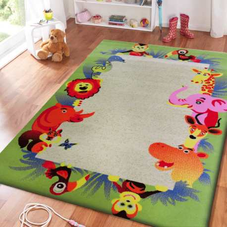 Dywan dla dzieci Kids 12 - kremowo-zielony