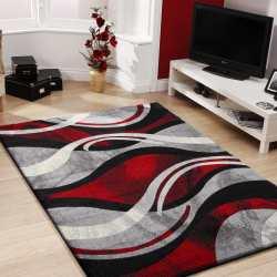 Dywan do pokoju nowoczesny Fashion 02 - szaro-czerwony