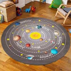 Dywan koło dla dzieci Mini Kids 09 szary układ słoneczny