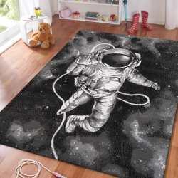 Dywan nowoczesny do salonu Sala 11 astronauta czarny