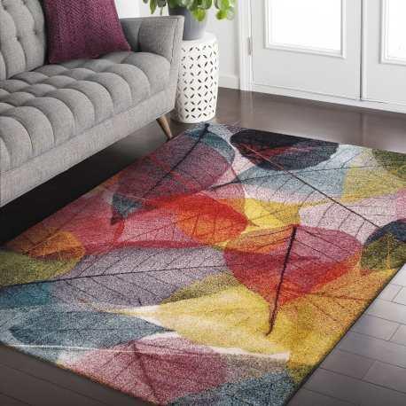 Dywan nowoczesny Floral 01 liście kolorowy