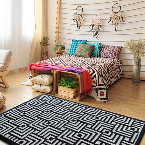 dywan maroko 04 bialo czarny geometryczny